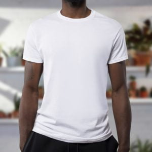 wearing visible undershirts with crew neck on their own