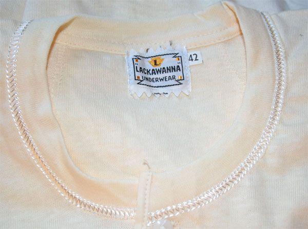 1940 vintage henley undershirt. From Lackawanna Underwear