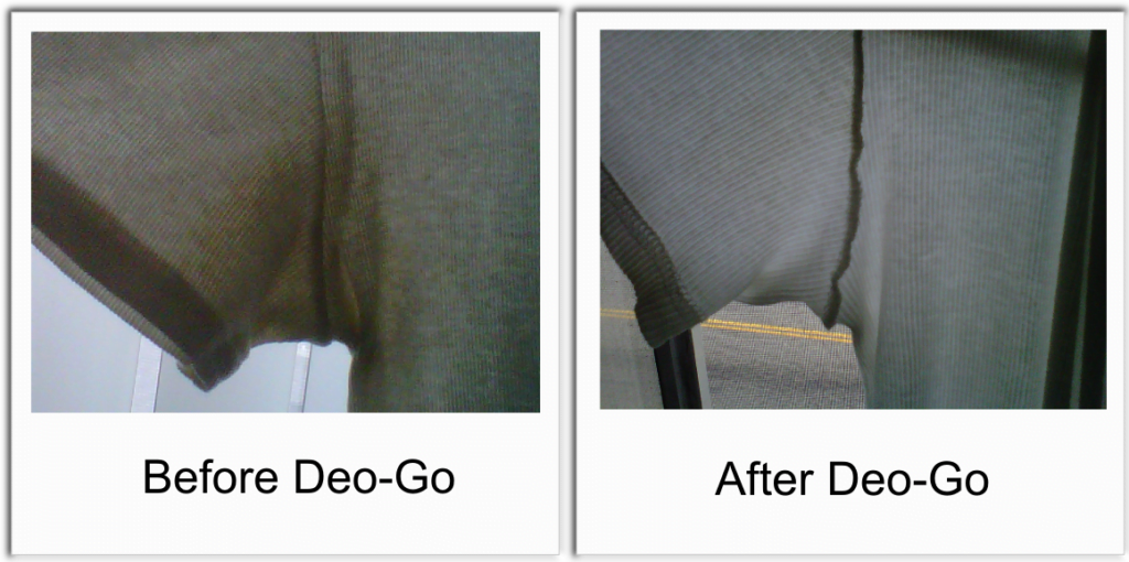 Seeing is believing deo go completely removed deodorant for Deodorant stains on black shirt