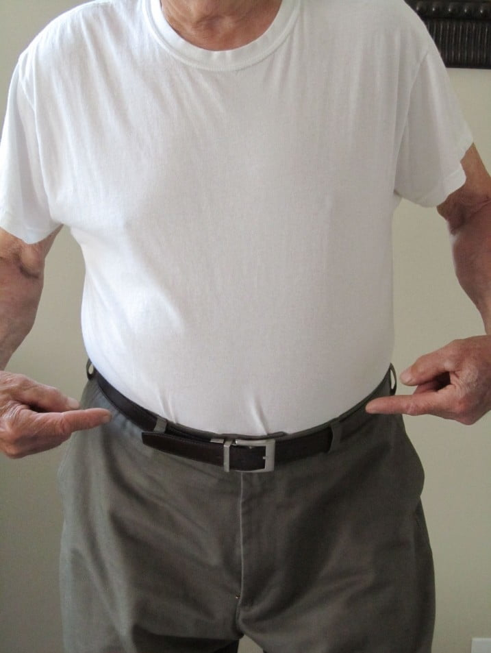 Tucked in with belt: Undershirt that keeps pants up with pants on
