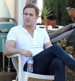 Gosling wearing a Henley shirt.