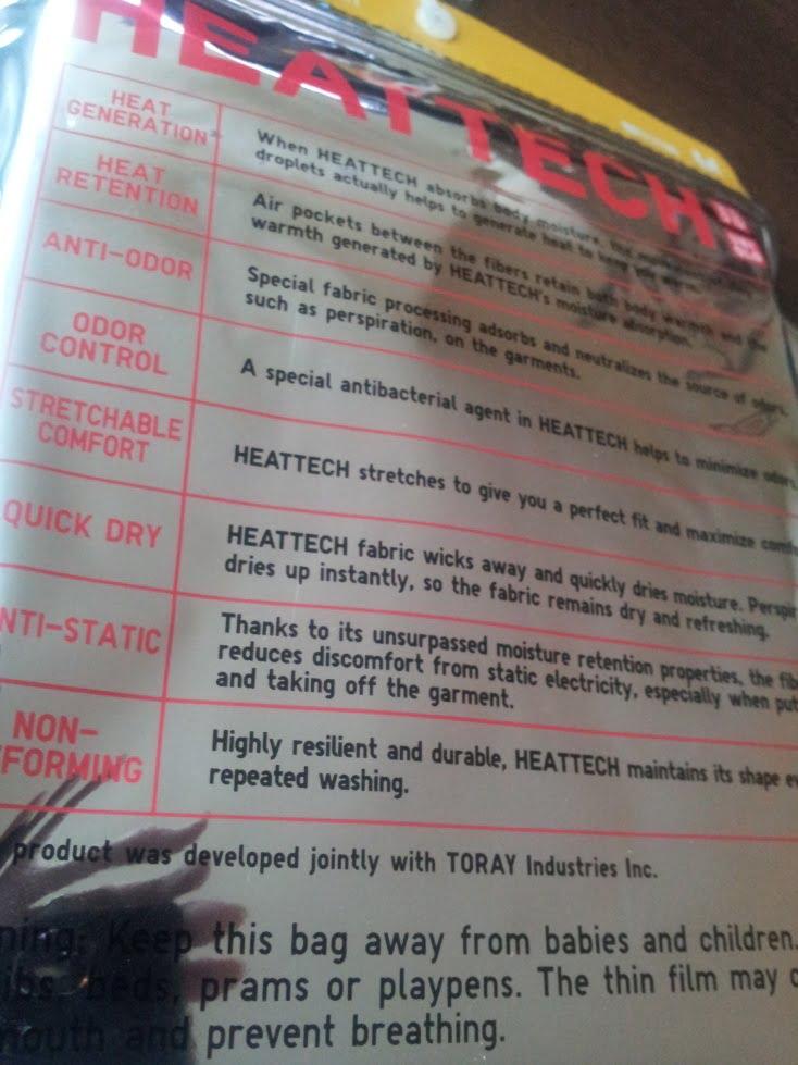 Uniqlo Heattech packaging | back