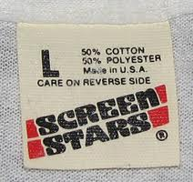 Screen Stars t-shirt care label