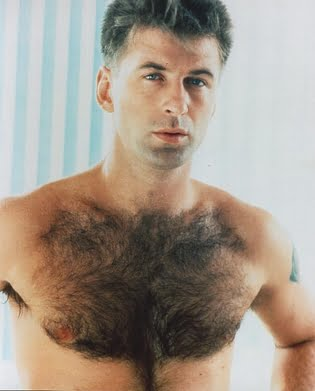 Alec Baldwin: not wearing an undershirt for hairy chest