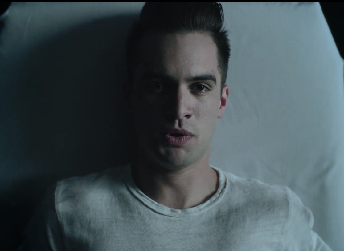 bridal hairstyles with headband : brendon-urie-this-is-gospel-white-crew-neck-t-shirt