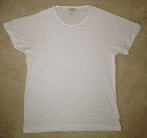 shirtless crew neck undershirt: laying flat