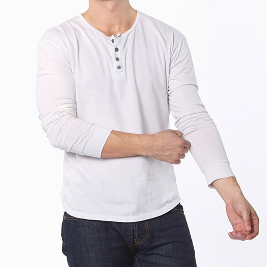 Buck Mason White Henley by Crates of California