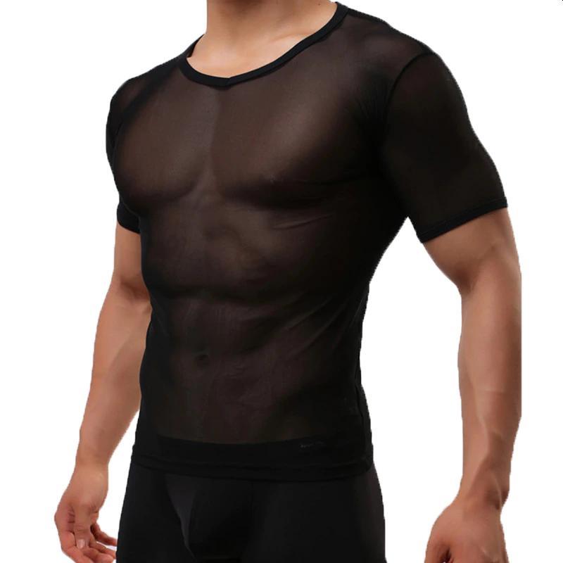 Black sheer transparent t-shirt for men