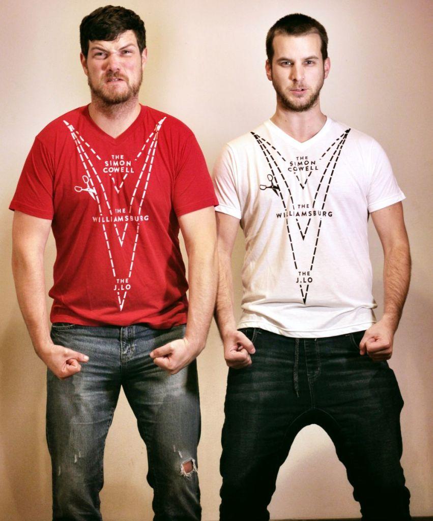 selfv-custom-red-and-white-deep-v-neck-tshirt