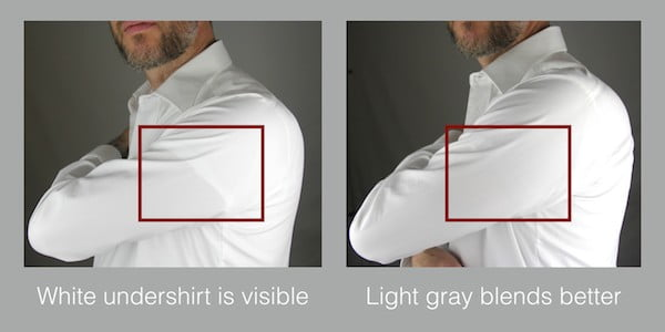 How grey undershirts don't showing under a white dress shirt vs a white undershirt