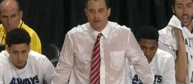 Arizona's Sean Miller A Sweaty Mess. Undershirt Required
