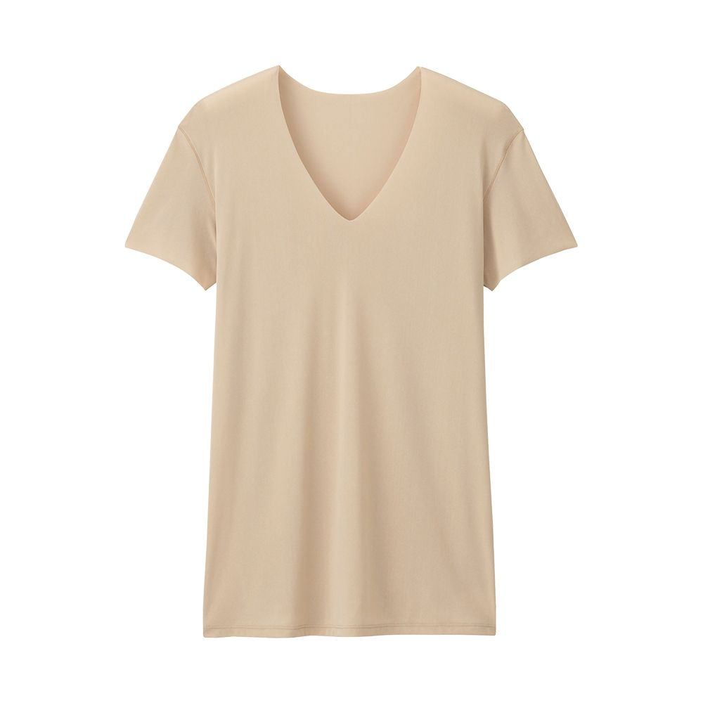 uniqlo-mens-seamless-v-neck-undershirt-front-beige