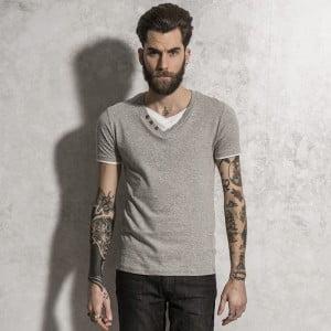 Brave Soul Mens Stylish V Neck T-Shirt With Mock Under Top