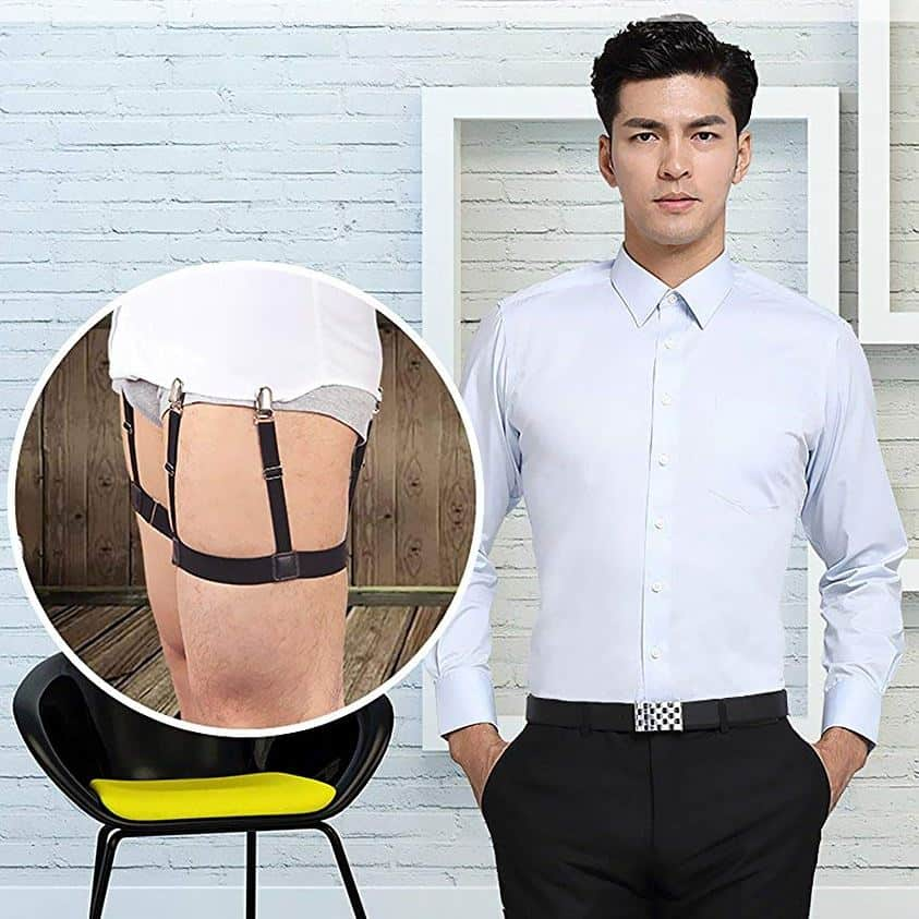Mens Shirt Stays Shirt Holder Straps Adjustable Elastic Suspenders Garters with Non-slip Locking Clamps Upgraded Version