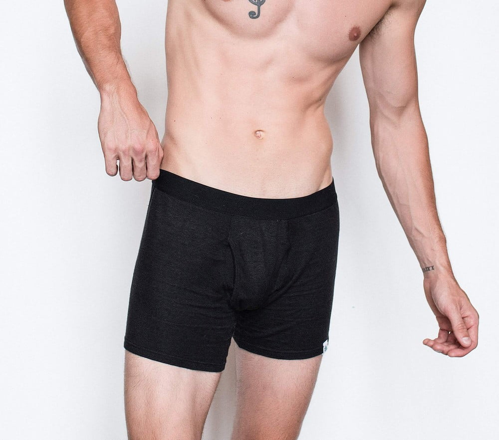 Wama underwear. Black hemp boxer briefs