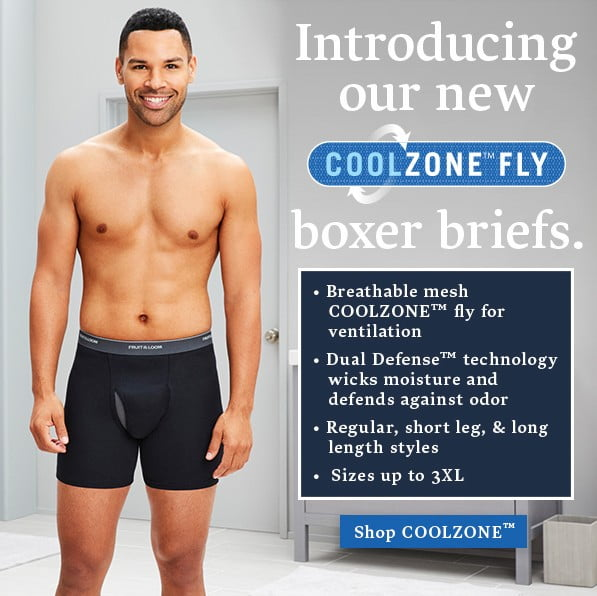 Fruit of the Loom: COOLZONE Fly boxer briefs features