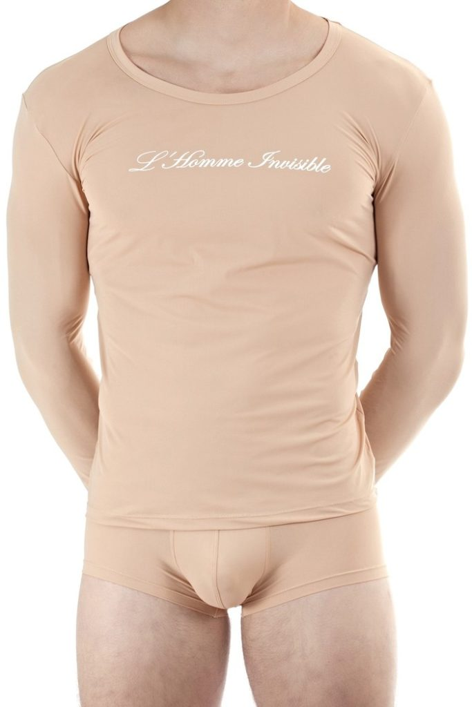 lhomme invisible nude color mens long sleeve undershirt