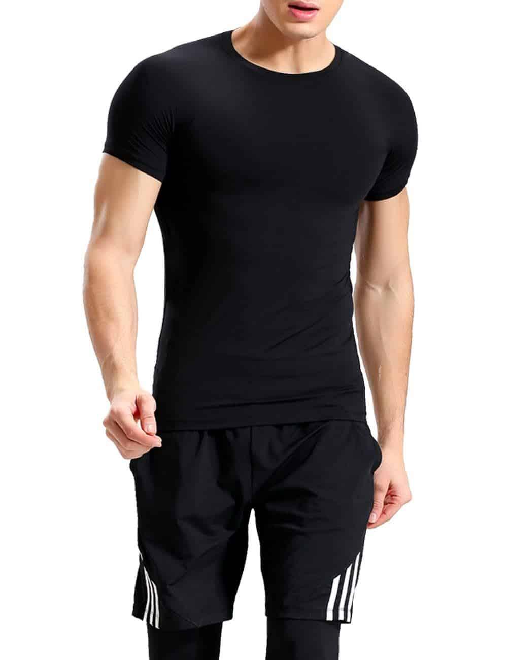 Lavento Black Crew Neck Moisture Wicking Undershirts