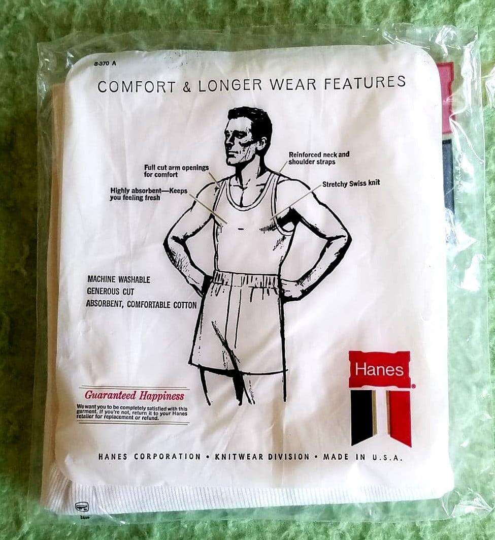 Vintage Hanes undershirt packaging. Circa 1960s