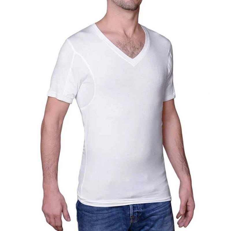 Sweatshield sweat-proof deep v-neck undershirt