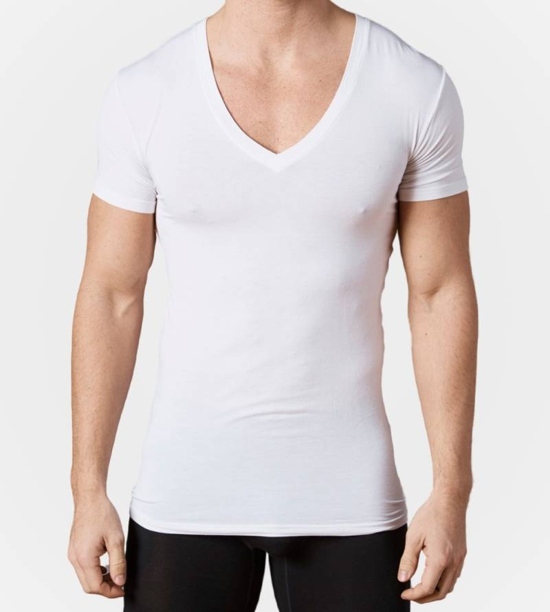 Underfit deep v-neck undershirt