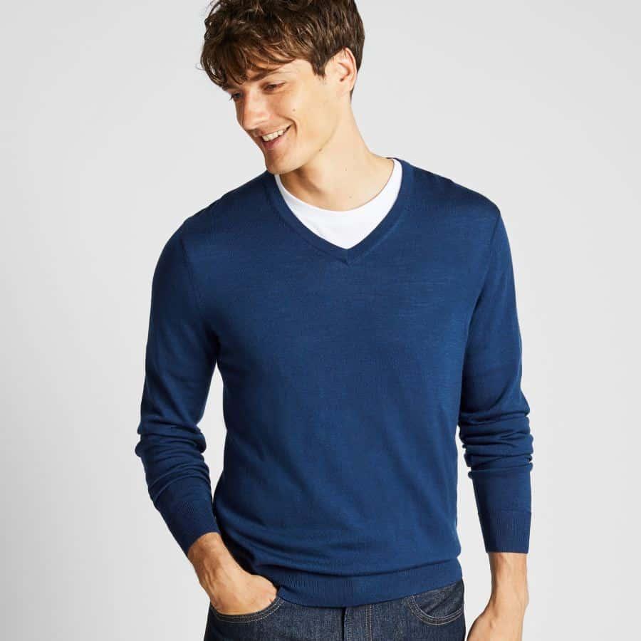 white crew neck undershirt under v-neck sweater