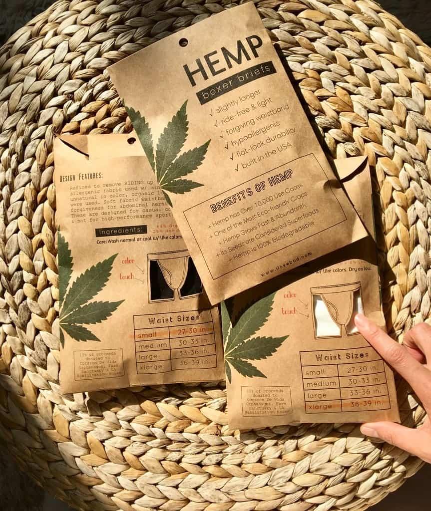 Hemp boxer briefs packaging