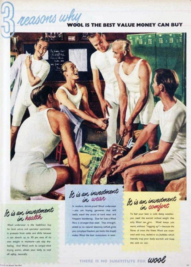 vintage underwear ad shows crew neck undershirts
