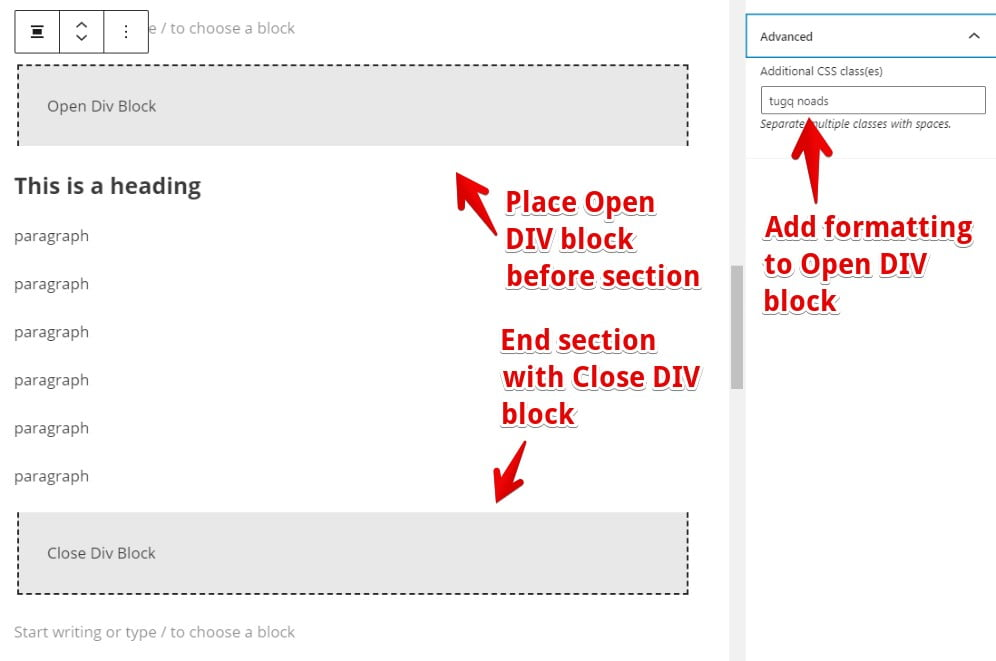 how to use Gutenberg DIV blocks