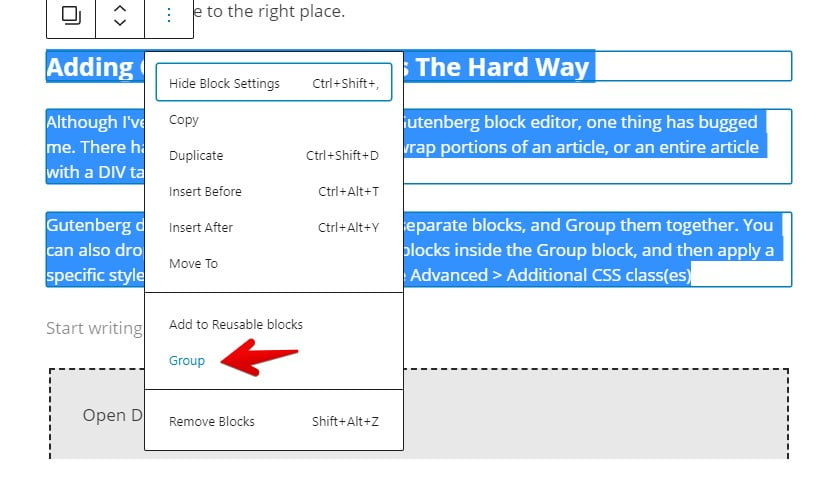 Select multiple Gutenberg blocks and group them.
