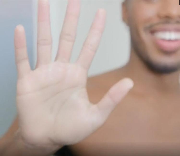 ballsy liquid-to-powder: showing on a hand
