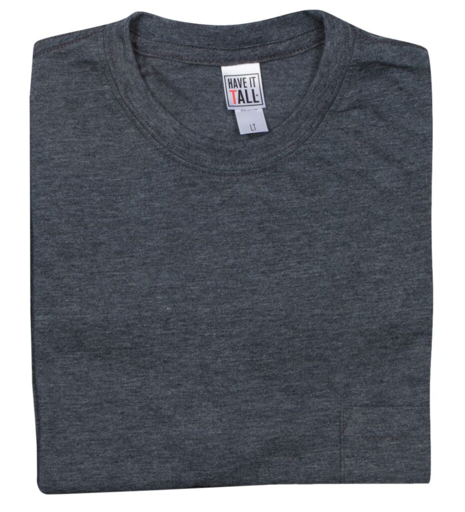 Have It Tall tight neck t-shirt. Color: heather charcoal