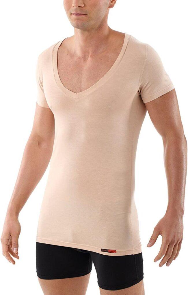 albert kreuz light nude beige deep v-neck undershirt