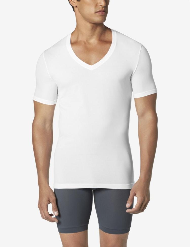tommy john white deep v-neck undershirt